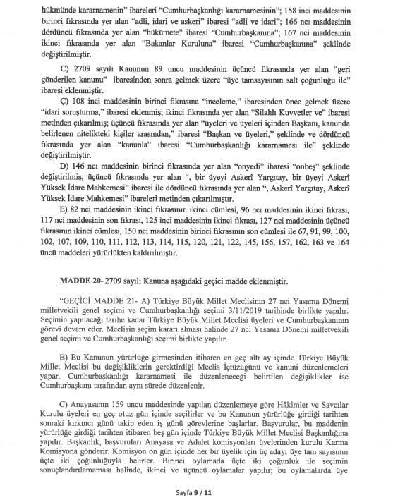 yeni anayasa değişikliği tam metni sayfa 9