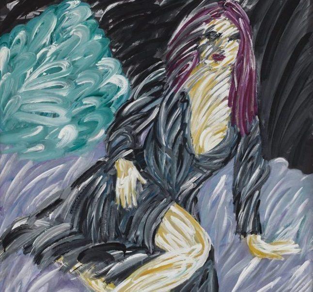 Mor saçlı kadın