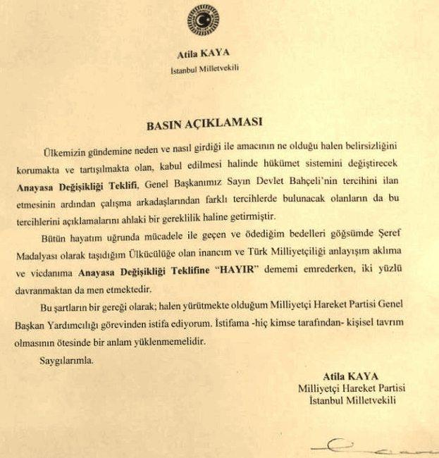 Atilla Kaya'nın basın açıklaması istifa mhp