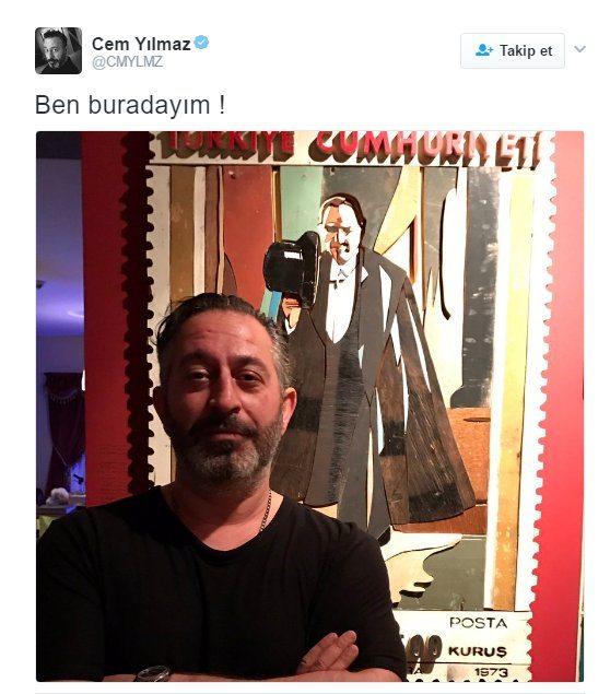 CHP'li Eren Erdem Cem Yılmaz'ın fotoğrafını paylaştı hayır ben buradayım