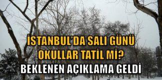 İstanbul'da 10 Ocak salı günü okullar tatil