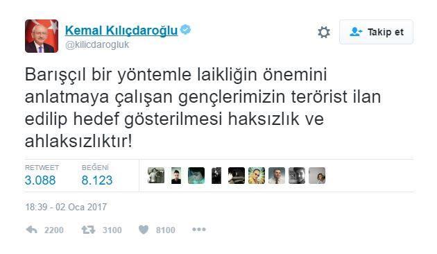CHP Genel Başkanı Kemal Kılıçdaroğlu Twitter'dan yaptığı paylaşımla, laiklik çağrısı yapan gençleri savundu