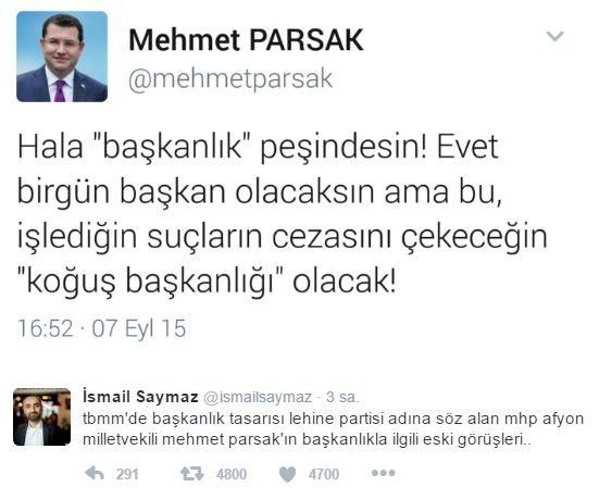 Partili Cumhurbaşkanlığı sistemine destek olan MHP'li Mehmet Parsak'a sosyal medyada eski Twitter paylaşımları hatırlatıldı.