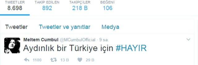 """Meltem Cumbul kişisel twitter hesabından """"Aydınlık bir Türkiye için #HAYIR"""" yazısını paylaştı."""