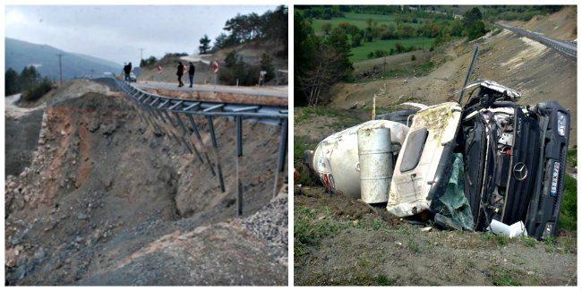 mudurnu bolu duble yol çökme bozuk asfalt trafik kazası