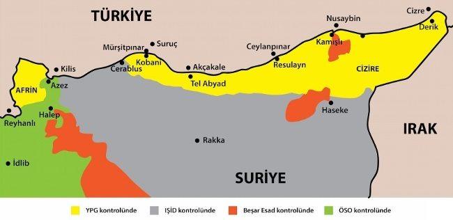 suriye ışid ypg öso esad harita güvenli bölge kürt kuşağı afrin kobani kürtler