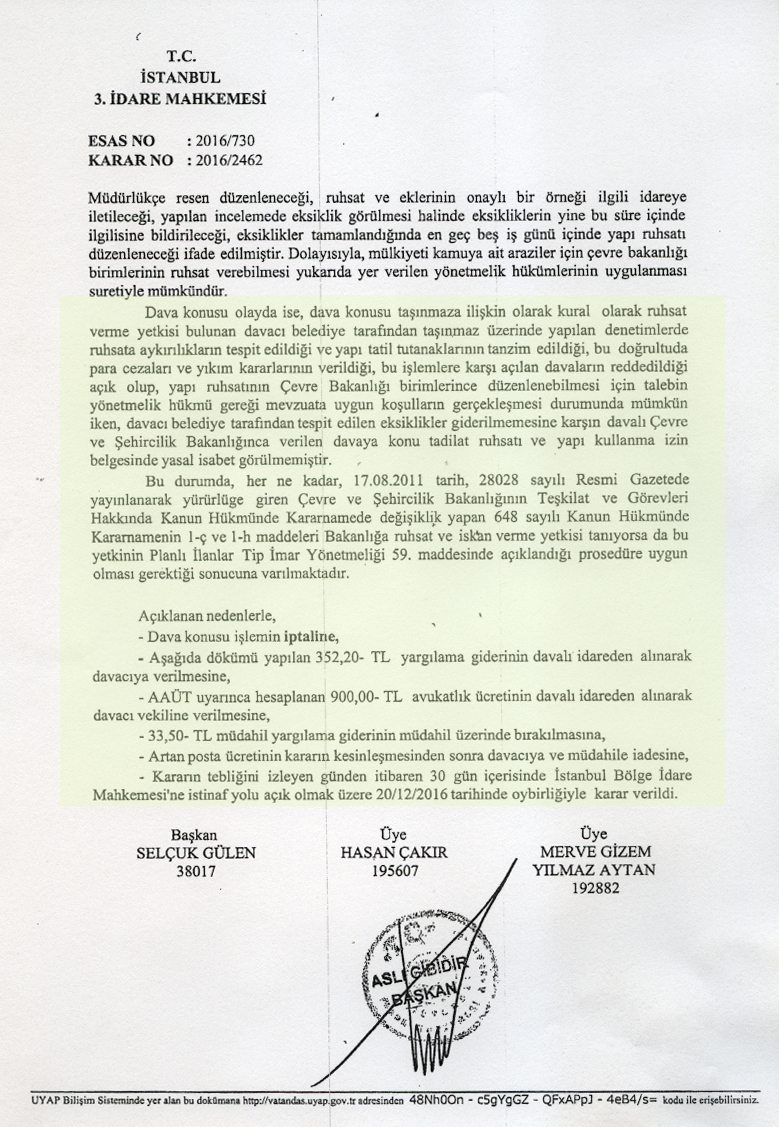 taşyapı kadıköy göztepe mahkeme iskan iptal