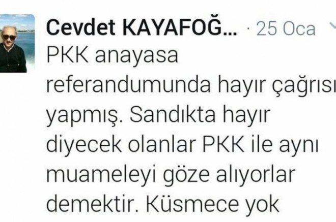 İşte Başsavcı Vekili Cevdet Kayafoğlu'nun twitter paylaşımı