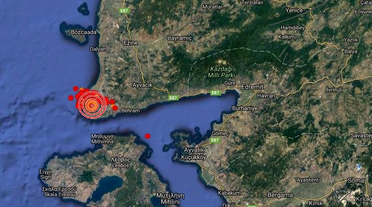 çanakkale ayvacık ayvalık deprem
