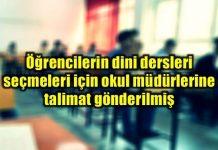 Din derslerinin seçilmesi için okul müdürlerine talimat iddiası