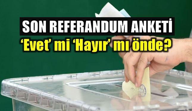 16 Nisan'da yapılacak anayasa değişikliği referandumu için son anket THEMIS'ten geldi. Evet mi Hayır mı önde? İşte son anketin sonuçları...