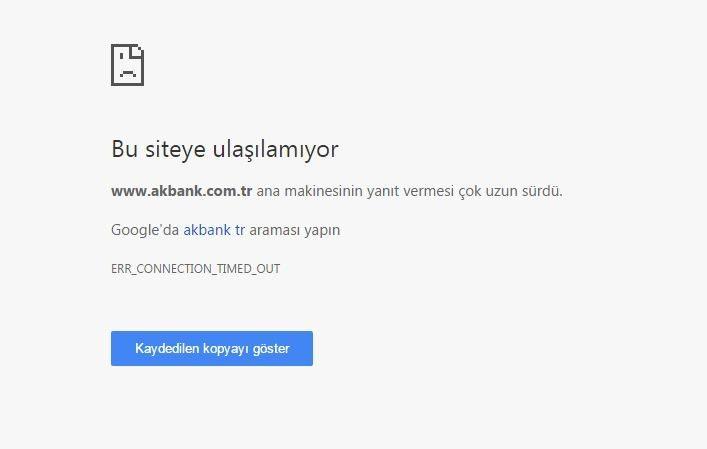 Akbank'ın internet sitesine girmek isteyen müşteriler de hatayla karşılaştı.