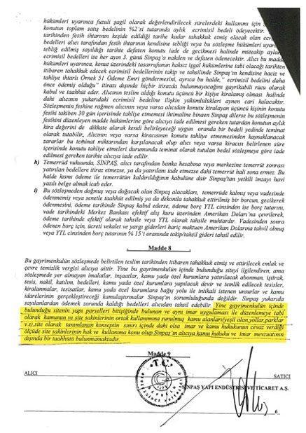 sinpaş gyo tarafından paylaşılan sözleşme ekleri