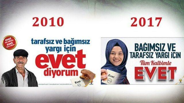 Referandum için'Evet' afişleri ve reklamlar üzerine
