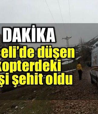 Tunceli'de düşen helikopterde 12 şehit