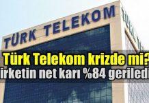 Türk Telekom'un net karı geçtiğimiz yıla göre yüzde 84 gerileyerek 65,7 milyon lira oldu. Şirket gelirleri ise yüzde 13,33 artış gösterdi.