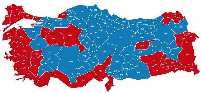 16 nisan 2017 referandum halkoylaması türkiye haritası oyların dağılımı