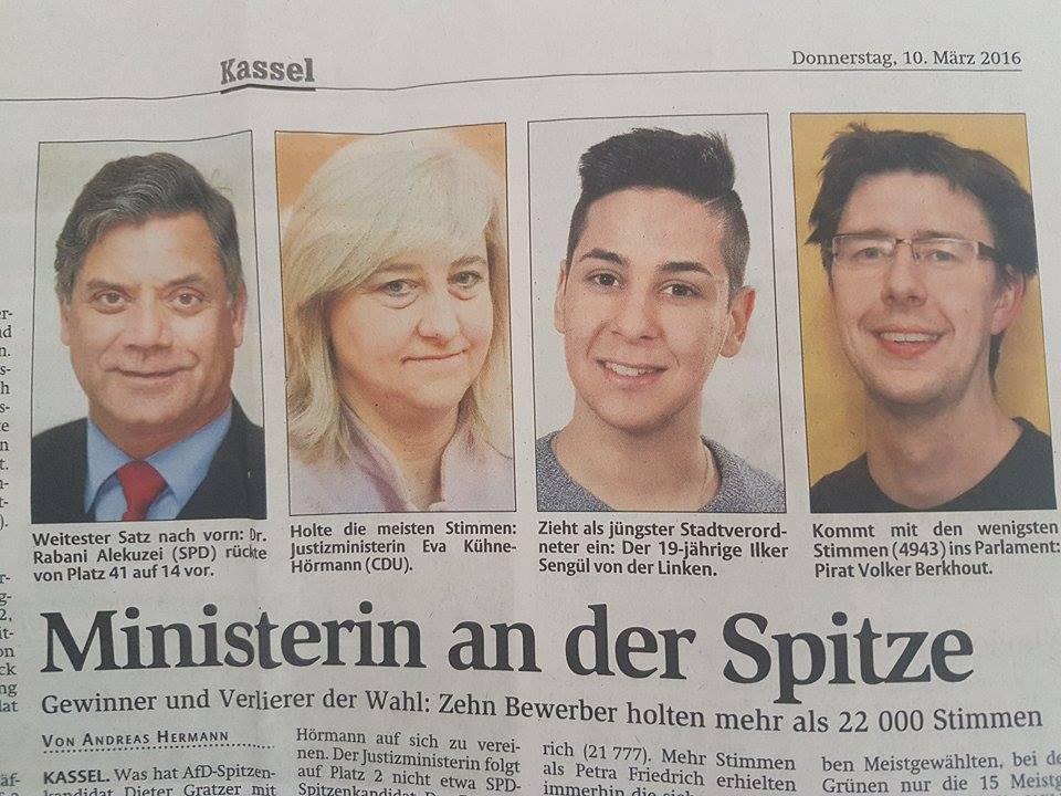 Mart 2016 Kassel Belediye Meclisi'ne seçilenler