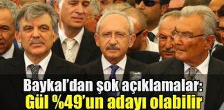 Deniz Baykal: Abdullah Gül yüzde 49'un adayı olabilir kemal kılıçdaroğlu chp kurultayı 2019 seçimleri