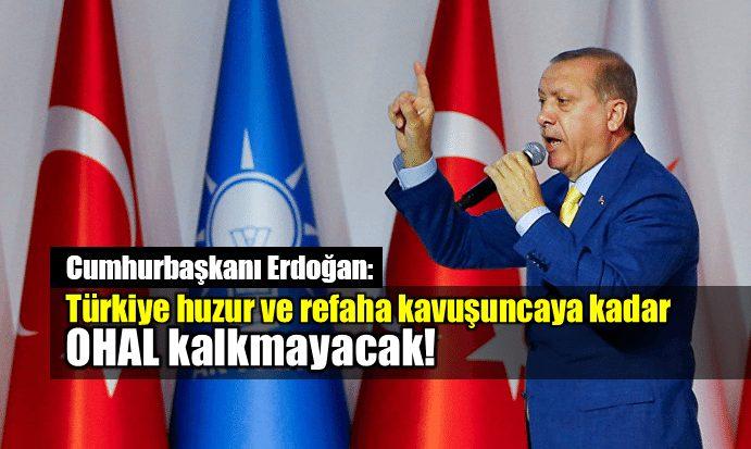 Erdoğan: Türkiye huzur ve refaha kavuşuncaya kadar OHAL kalkmayacak!