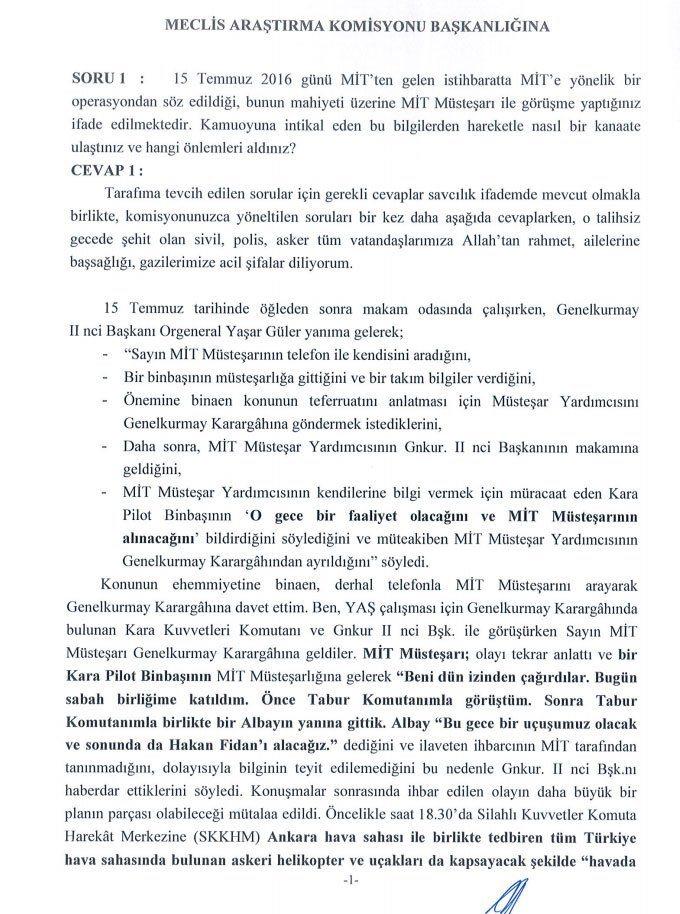 Hulusi Akar darbe komisyonu 8 sayfalık yanıt