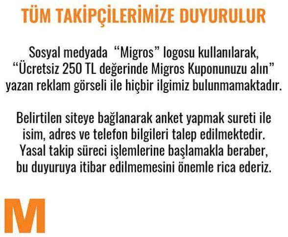 migros türkiye sahte kupon dolandırıcılığı duyuru