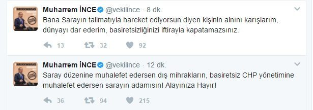 Muharrem İnce'den Kılıçdaroğlu'na çok sert sözler twitter tepki