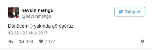 """Nevşin Mengü'nün sosyal medya hesabından yaptığı """"Dönücem :) yakında görüşürüz"""" paylaşımı dikkat çekti."""