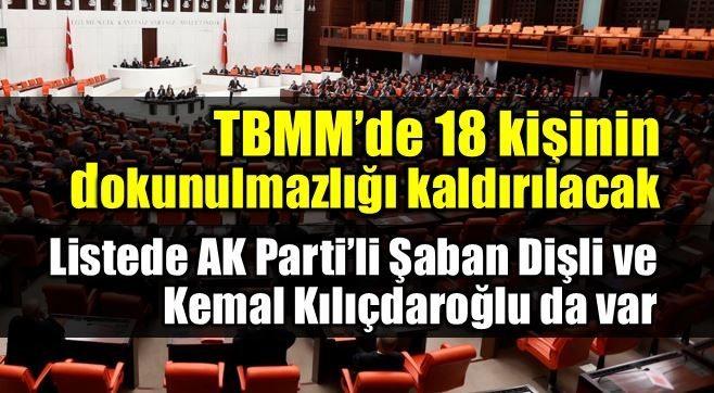 18 milletvekilinin dokunulmazlıklarının kaldırılması için tezkere şaban dişli kemal kılıçdaroğlu hdp ak parti