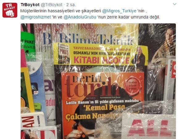 Boykot kararını sahiplenen @TrBoykot isimli Twitter hesabı, Migros'un ve sahibi olduğu Anadolu Grubu'nun konuyla ilgili dönüş yapmadığını belirtti.