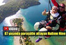 87 yaşında paraşütle atlayan Halime Nine
