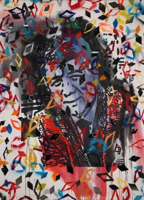 Bedri Baykam, İçim Parçalanıyor Serisi, tual üzerine karışık teknik, 180x134 cm, 2010, Mustafa Balbay Koleksiyonu, Ankara.