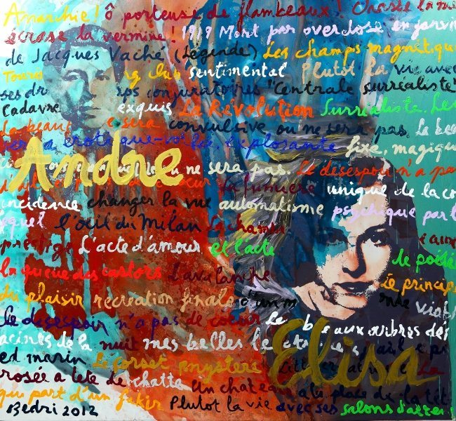Bedri Baykam, Andre And Elisa, Surrealist Passion, Mixed Media On Canvas, 206x222cm, 2012 Fulya-Levent Ceylan Koleksiyonu, İstanbul.