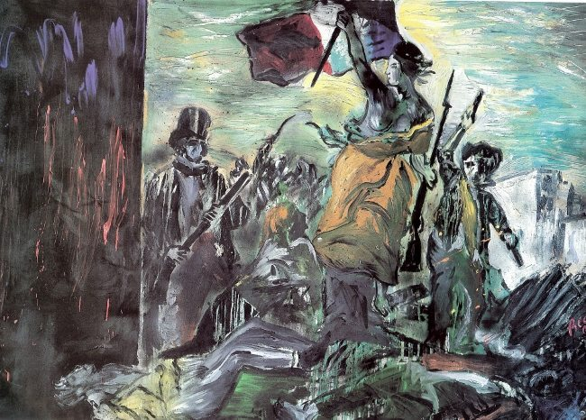 Bedri Baykam, Hürriyet Halka Yol Gösteriyor 'Delacroix 1830', tual üzerine karışık teknik, 170x249 cm, 1991, Merkez Bankası Koleksiyonu, Ankara.