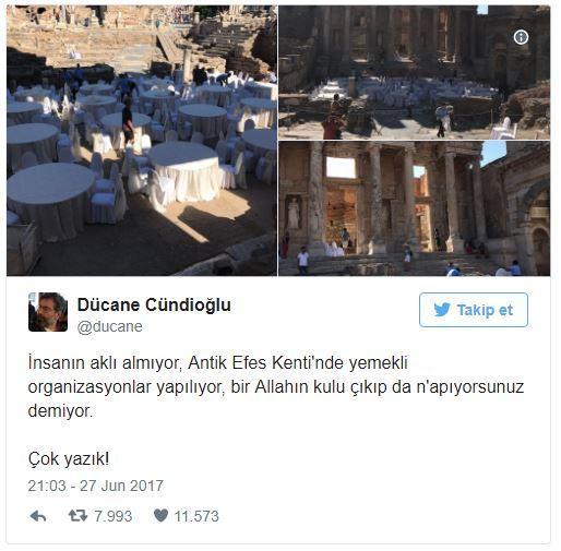 Fotoğrafları ilk kez Düdane Cündüoğlu Twitter'dan yaptığı bu paylaşımla duyurdu efes antik kenti düğün