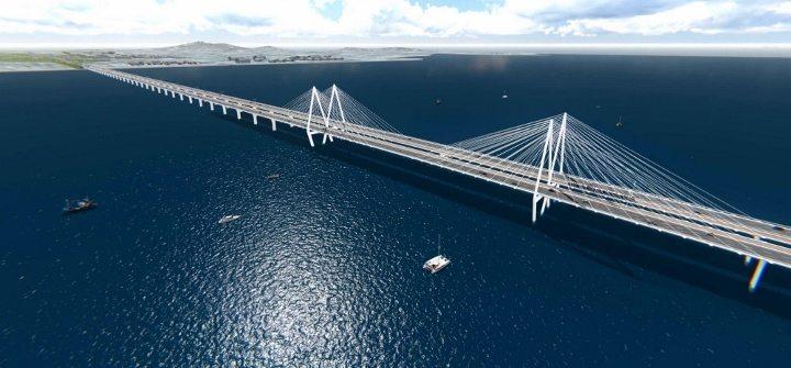 Planlanan İzmir Körfez Köprüsü'nün üç boyutlu çizimi.
