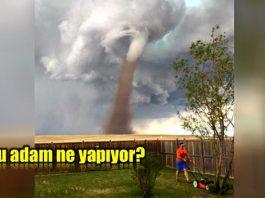 Kanada'da kasırgada çim biçen adamın fotoğrafı viral oldu