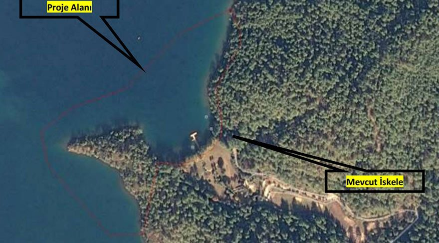 Marmaris Okluk koyuna Cumhurbaşkanlığı için 3 hilalli dolgu plaj