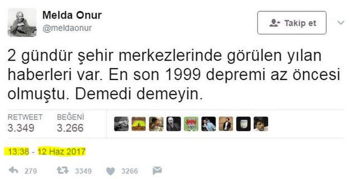 melda onur deprem tweeti yılanları twitter