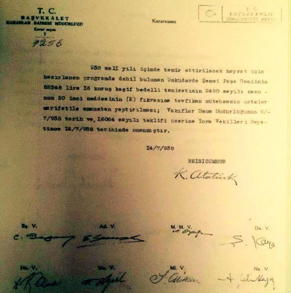 Atatürk'ün Şemsi Ahmet Paşa Camii kararnamesi