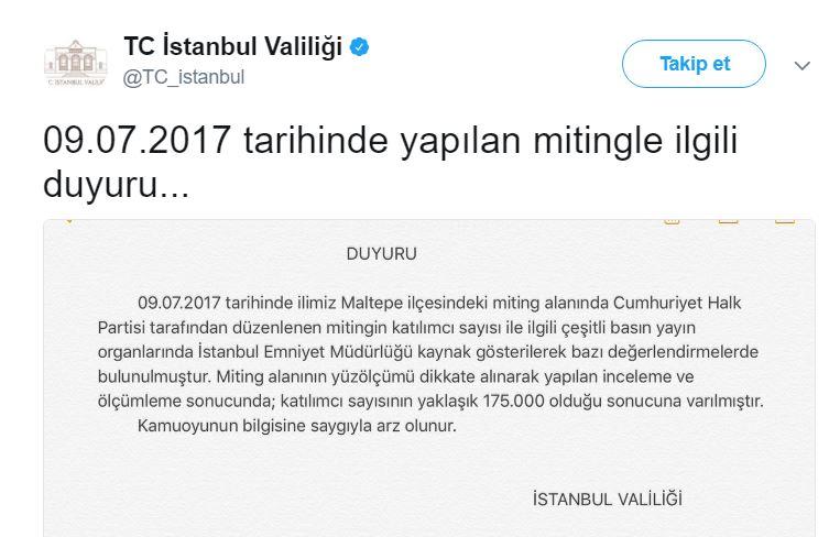 istanbul valiliği adalet mitingi 175 bin kişi katıldı
