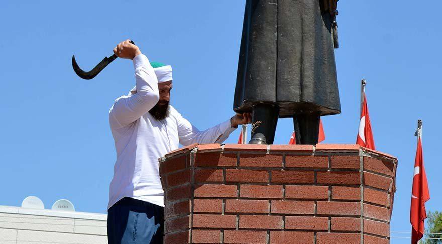 mehmet malbora atatürk büstü heykeli saldırı şanlıurfa urfa siverek