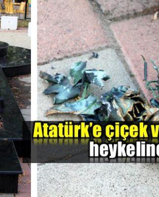 Atatürk'e çiçek veren kız heykeline saldırı