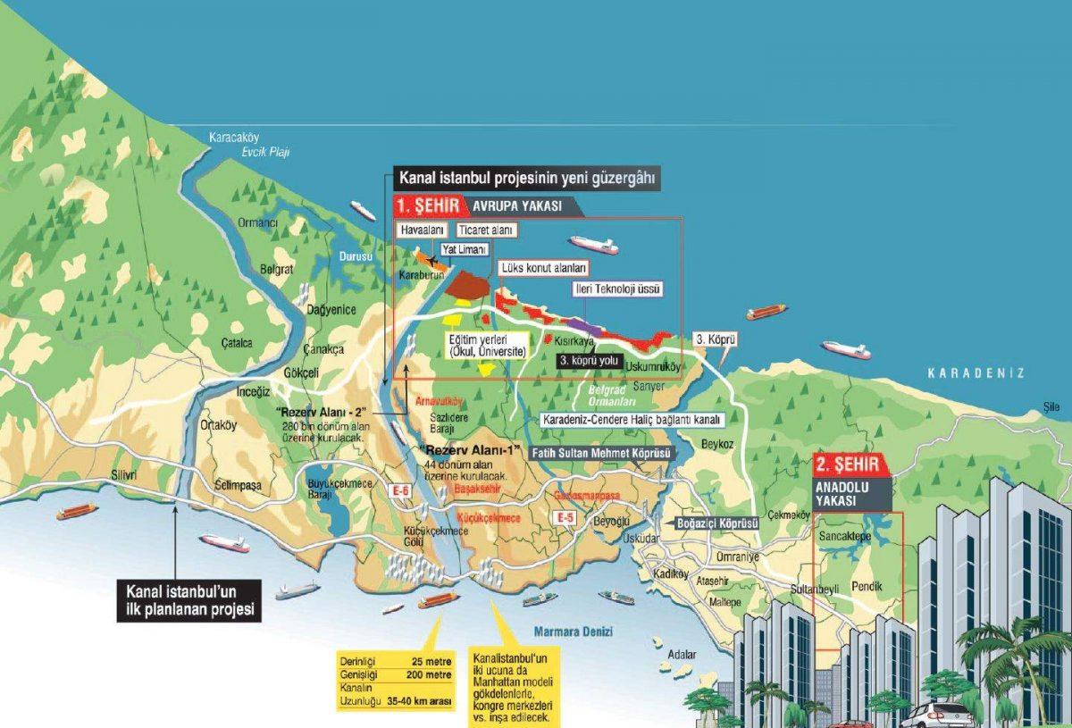 kanal istanbul güzergah harita