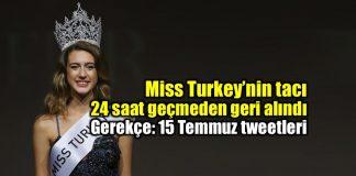 Miss Turkey birincisi seçilen Itır Esen tacı geri alındı