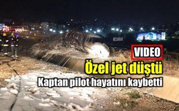 Atatürk Havalimanı özel jet düştü son görüntüler video