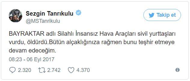 CHP İstanbul Milletvekili Sezgin Tanrıkulu hakkında, Bayraktar Silahlı İnsansız Hava Araçları ile (SİHA) ilgili sözleri nedeniyle soruşturma başlatıldı.