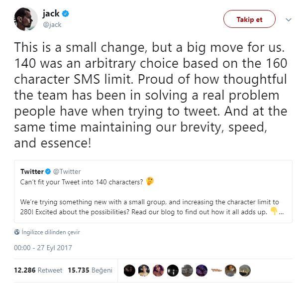 Twitter CEO Jack Dorsey'den 280 karakterlik ilk tweet