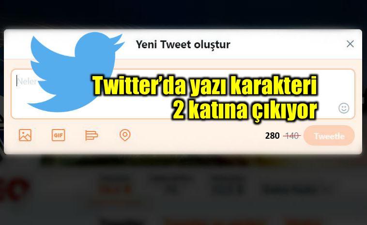Twitter karakter limiti 140 karakter 280 karakter