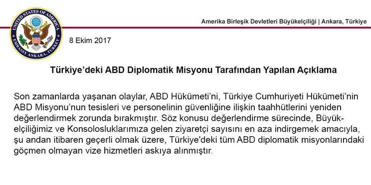 ABD Türkiye vize başvurularını süresiz durdurdu